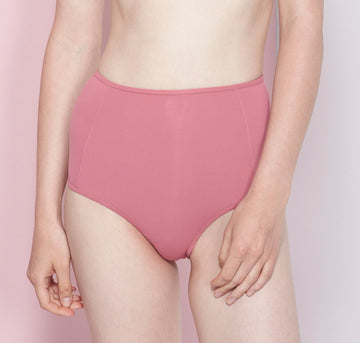 High waisted bikini bottom [Dark Rose] Swim Bower Swimwear 12