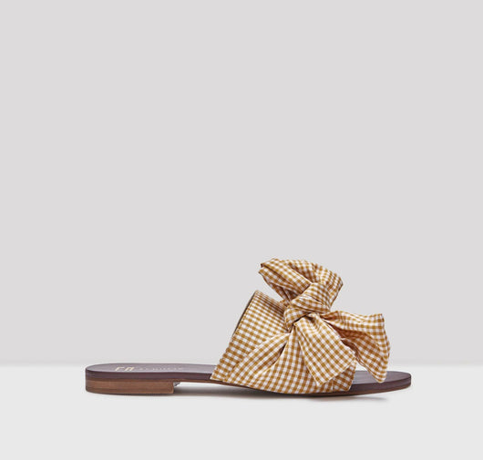 Peggy  gingham sandals [Mustard Yellow] - The Pantry Underwear
