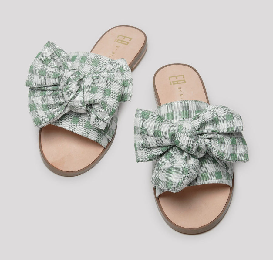 Leather and fabric bow slides [Olive Gingham] Accessories E8 by Miista