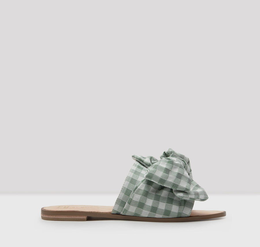Leather and fabric bow slides [Olive Gingham]