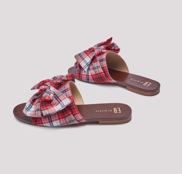 Peggy sandals [Red Multi-Check]