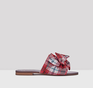 Peggy sandals [Red Multi-Check] - The Pantry Underwear