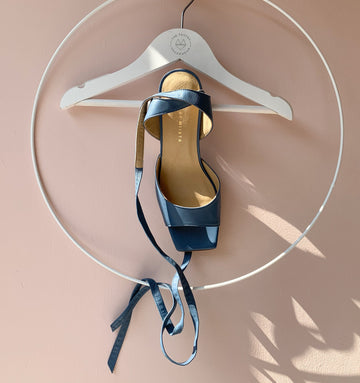 Square toe sandal with leather ankle tie [Blue] Accessories E8 by Miista