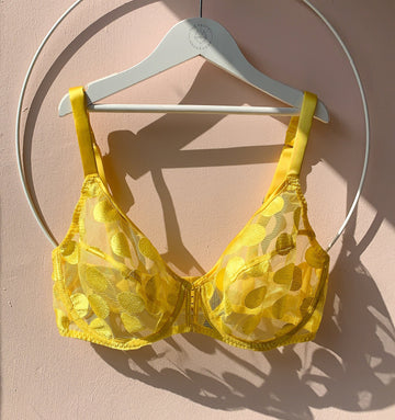 Spot detail plunge bra [Yellow]