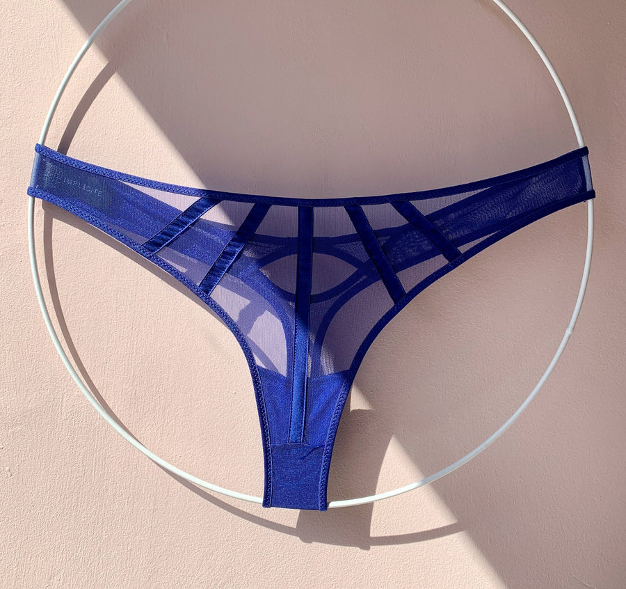 Satin contour thong [Electric Blue]