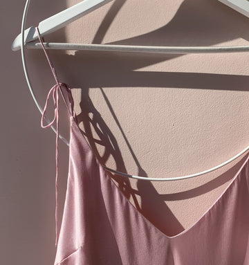 Calf-length silk slip dress [Pantry Pink]