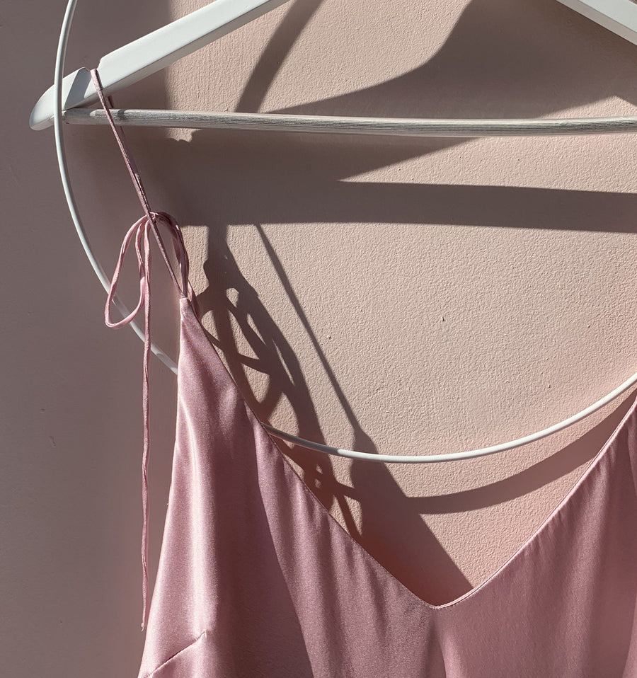 Calf-length silk slip dress [Pantry Pink] Sleep Hesper Fox