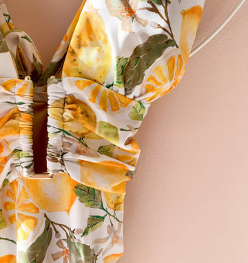 Gold detail multi-tie swimsuit [Lemon]