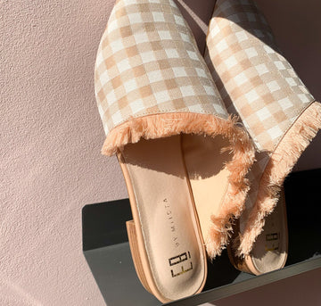 Pointed slip-on with fringe detail [Blush Gingham]