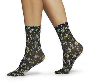 Ada flower socks [Black/Multi] Accessories Swedish Stockings