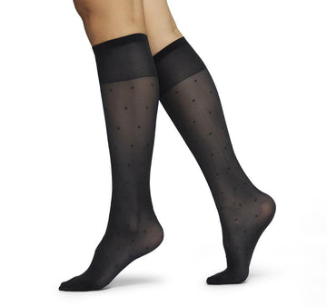 Doris dots knee high [ Black] Accessories Swedish Stockings