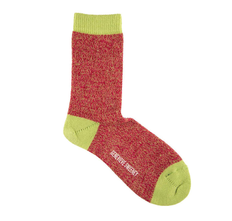 Twisted wool sock [Pink / Lime]
