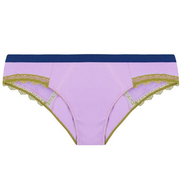 Lilac satin & olive lace low rise knicker Bottoms Dora Larsen
