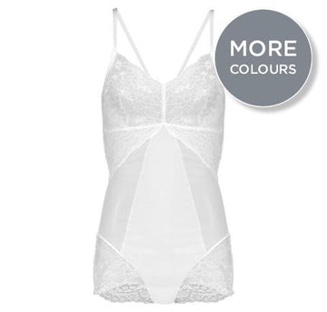 Shapewear lace body [White] - The Pantry Underwear