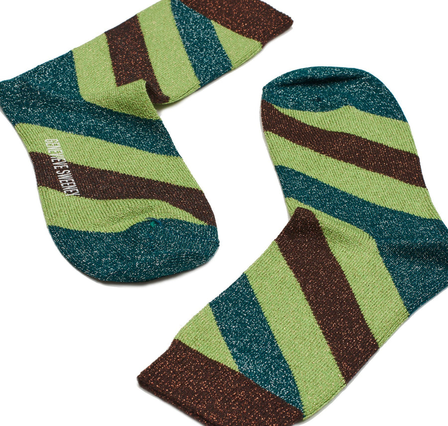 Sparkly striped sock [Lime, Teal and Copper]