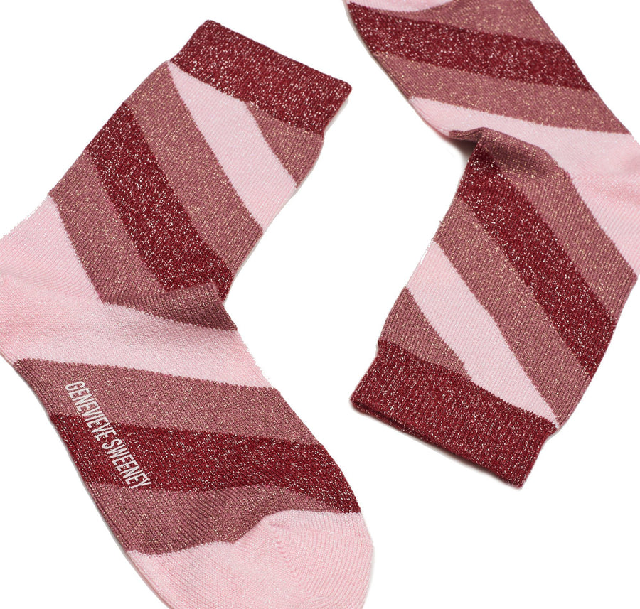 Sparkly striped sock [Rose, Pink and Red]