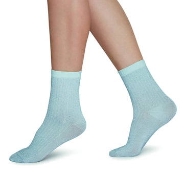Stella shimmery socks [Light Blue] Accessories Swedish Stockings