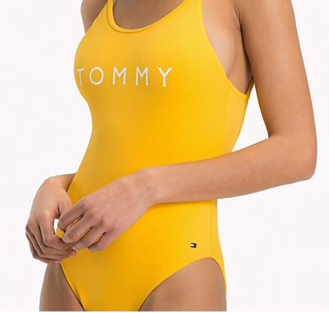 Scoop back branded one piece [Yellow] Swim Tommy Hilfiger