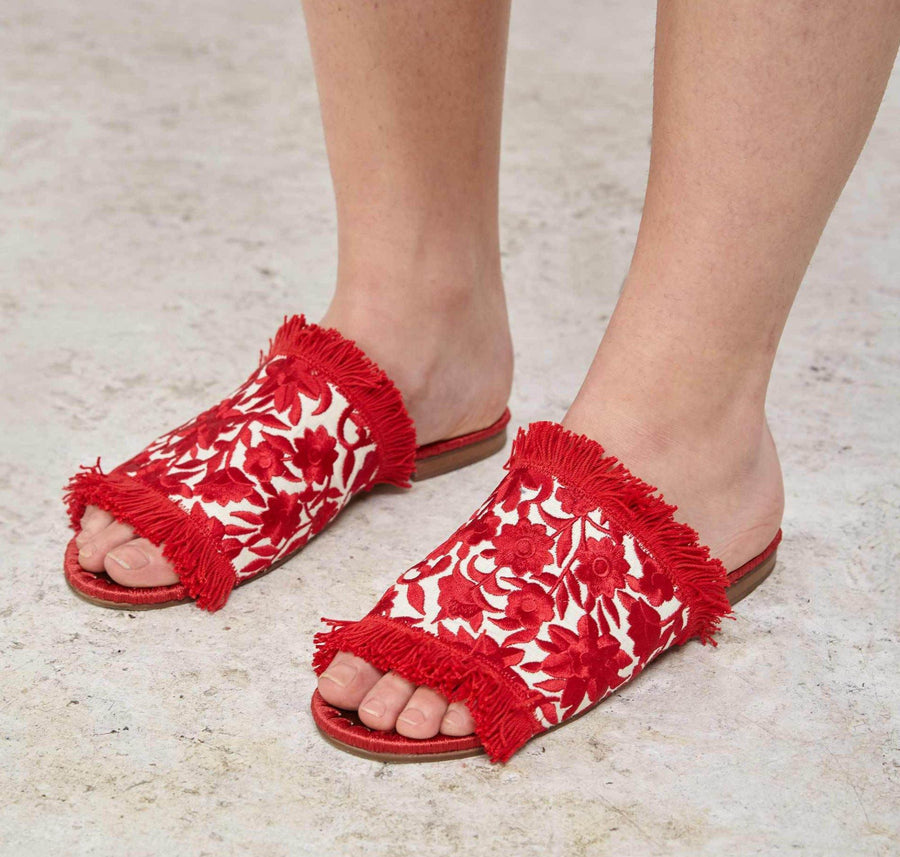 Tavie embroidered sandals [Red & Cream] - The Pantry Underwear