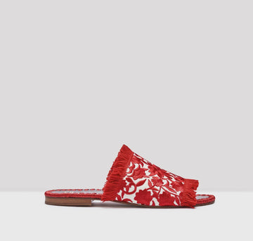 Tavie embroidered sandals [Red & Cream] Accessories E8 by Miista 36