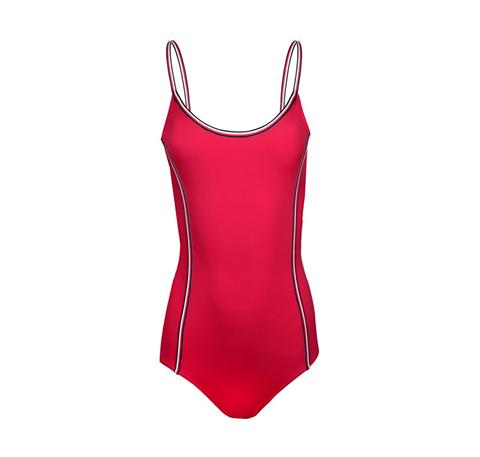Spaghetti strap scoop one piece [Red]