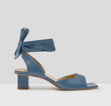 Square toe sandal with leather ankle tie [Blue]
