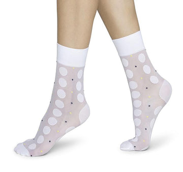 Viola dot socks [White] Accessories Swedish Stockings