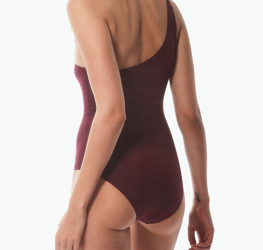 One shoulder swimsuit [Burgundy] - The Pantry Underwear