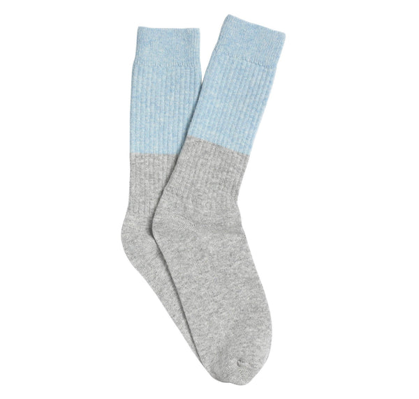 Cashmere sleep socks [Grey & Blue]