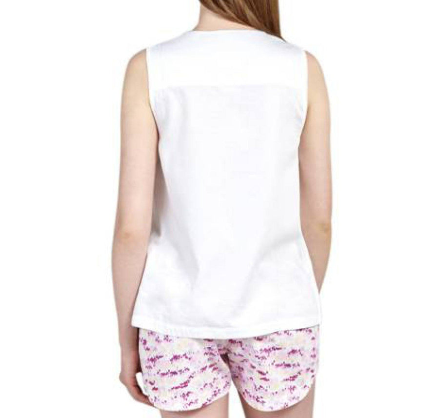 Cotton cross front night top [White] - The Pantry Underwear