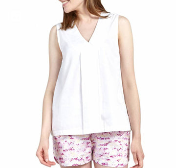 Cotton cross front night top [White] Sleep Yawn extra-small