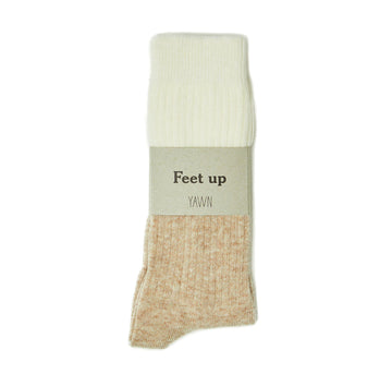 Cashmere sleep socks [Camel & Cream] - The Pantry Underwear