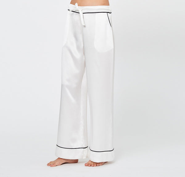 Monochrome silk pyjama bottoms [Ivory]