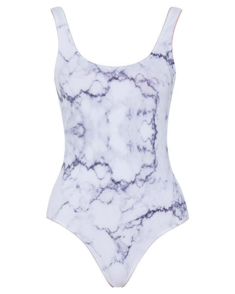 Leotard reversible swimsuit [Dusty Rose/White Marble]