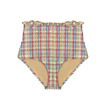 Gingham waffle high waisted bikini bottom [Yellow Gingham] Swim Lilliput & Felix extra-small