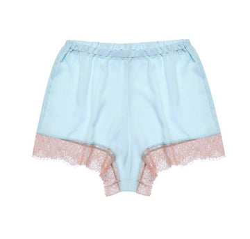 Powder blue satin & blush eyelash short