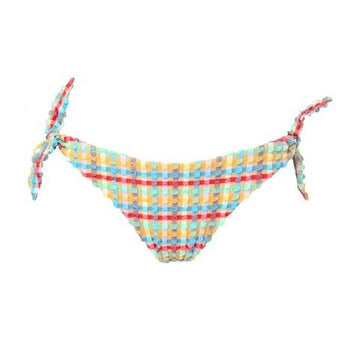Gingham waffle low rise side-tie bikini bottom [Yellow Gingham] Swim Lilliput & Felix extra-small