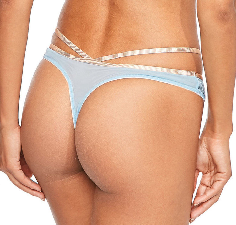Geometric blue & blush thong - The Pantry Underwear