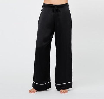 Monochrome silk pyjama bottoms [Black] - The Pantry Underwear