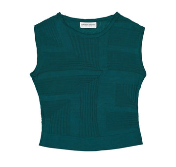 Italian cotton geometric textured pencil tank [Deep Teal] - The Pantry Underwear