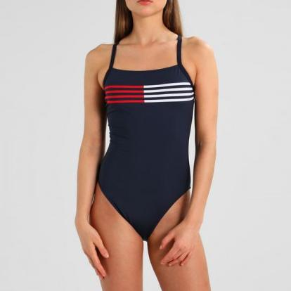 Cross back flag lines one piece [Navy]