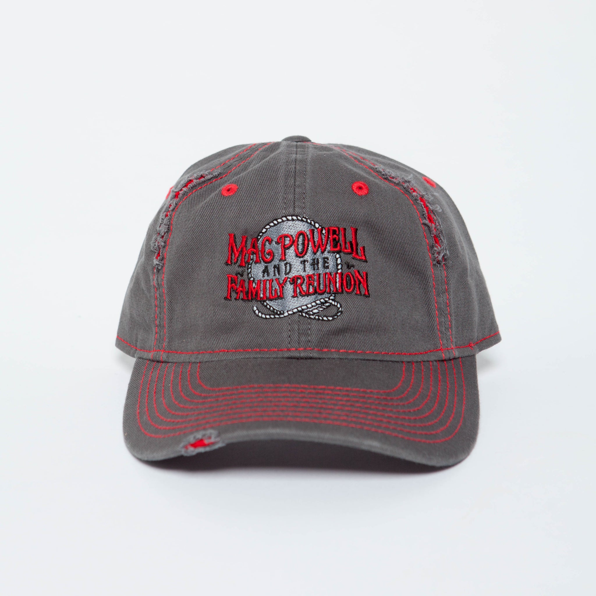 Close up of a Mac Powell distressed gray and red hat.