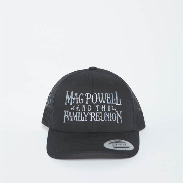 A Mac Powell and the Family Reunion snapback hat in charcoal gray.