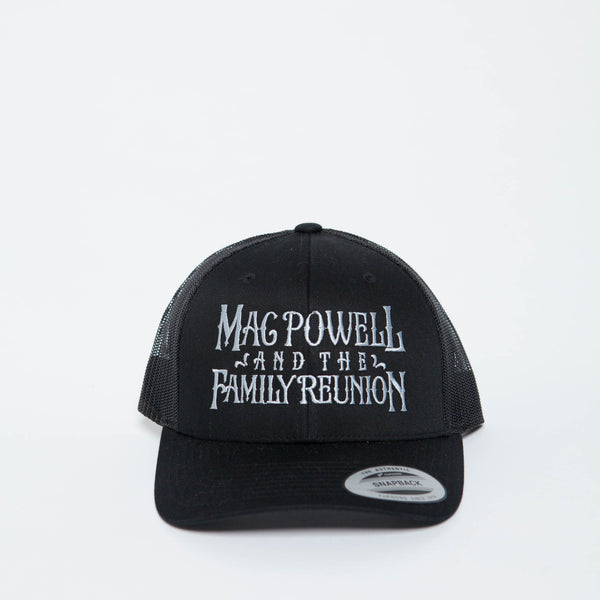 A Mac Powell and the Family Reunion snapback hat in black.