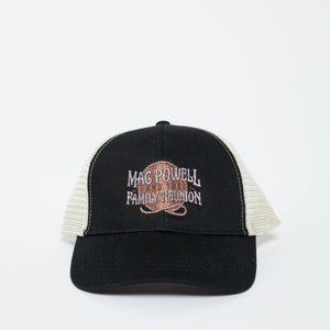 An organic, recycled Mac Powell and the Family Reunion hat in black and beige.