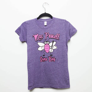 "A purple ladies Mac Powell tee that reads ""Mac Powell June Bug"""