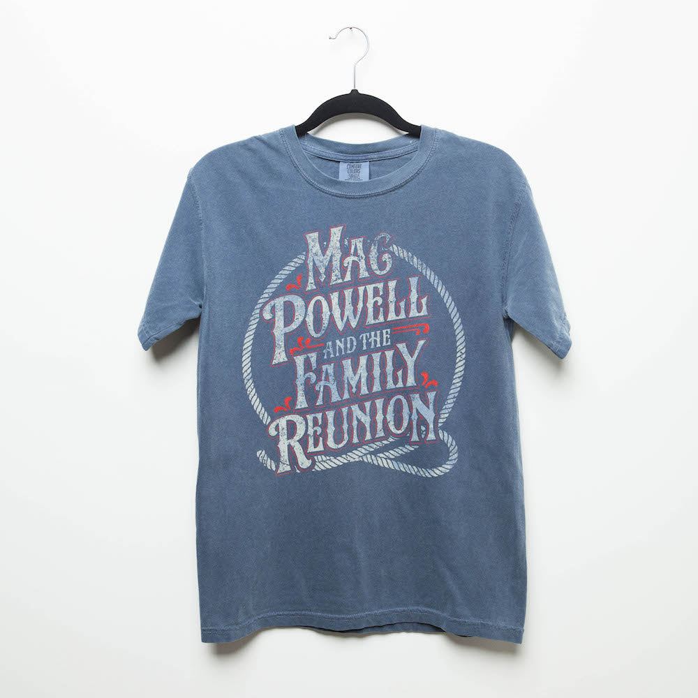 A blue t-shirt that reads Mac Powell and the Family Reunion within a lasso design.