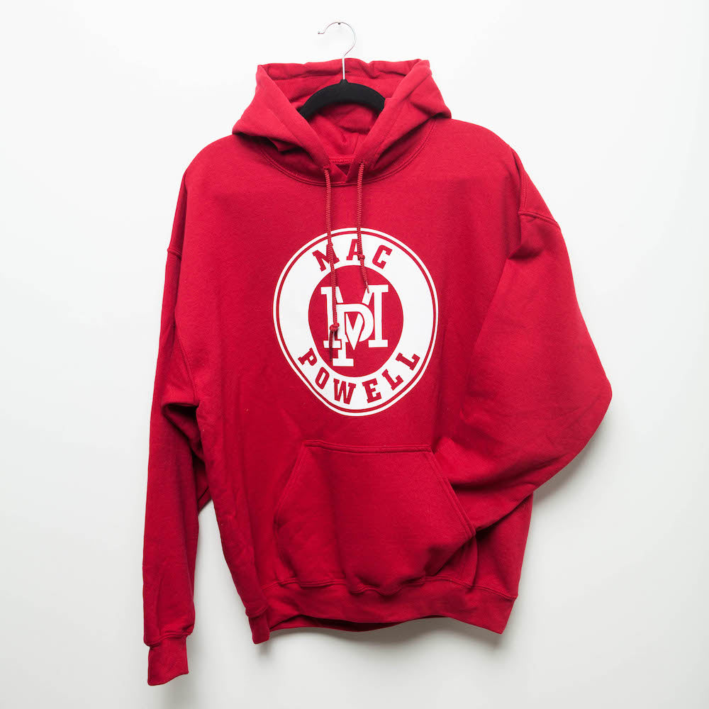A red Mac Powell hoodie sweatshirt that has the MP logo in the center.