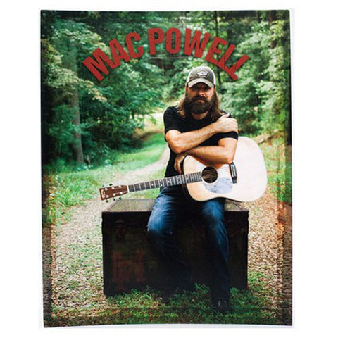 8x10 poster of a photo of Mac Powell with a guitar in the forest.