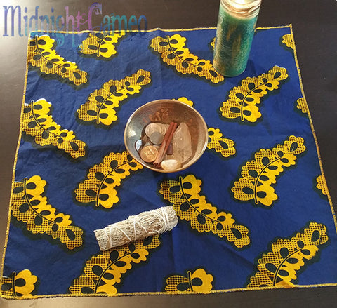 Blue and Yellow African Print Altar Cloth